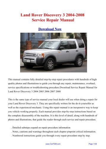 2004 land rover discovery service manual