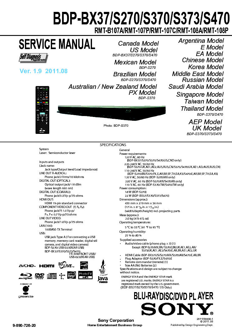 sony bdp s470 user manual