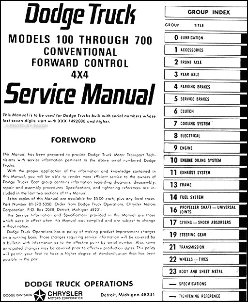 1970 dodge d100 owners manual